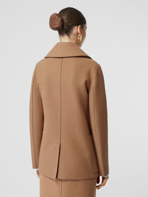 Button Panel Detail Wool Cashmere Pea Coat in Camel - Women | Burberry - cell image 2