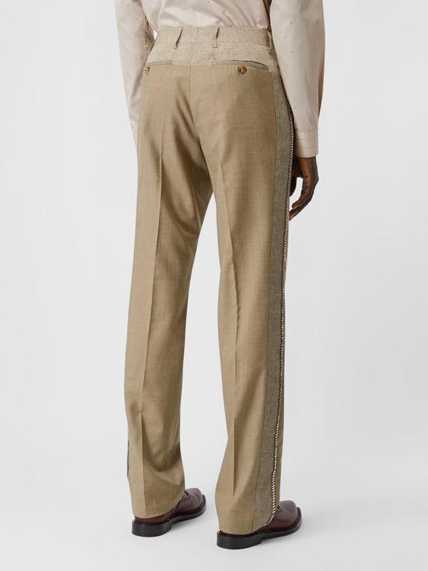 English Fit Crystal Embroidered Wool Cashmere Trousers in Pecan Melange | Burberry United Kingdom - cell image 2