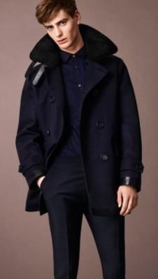毛羊皮领面棉质trench风衣