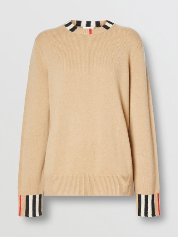 Pullover in cashmere con finiture con iconico motivo a righe (Beige Archivio)