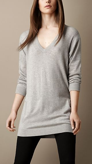 Cotton Cashmere V-Neck Tunic