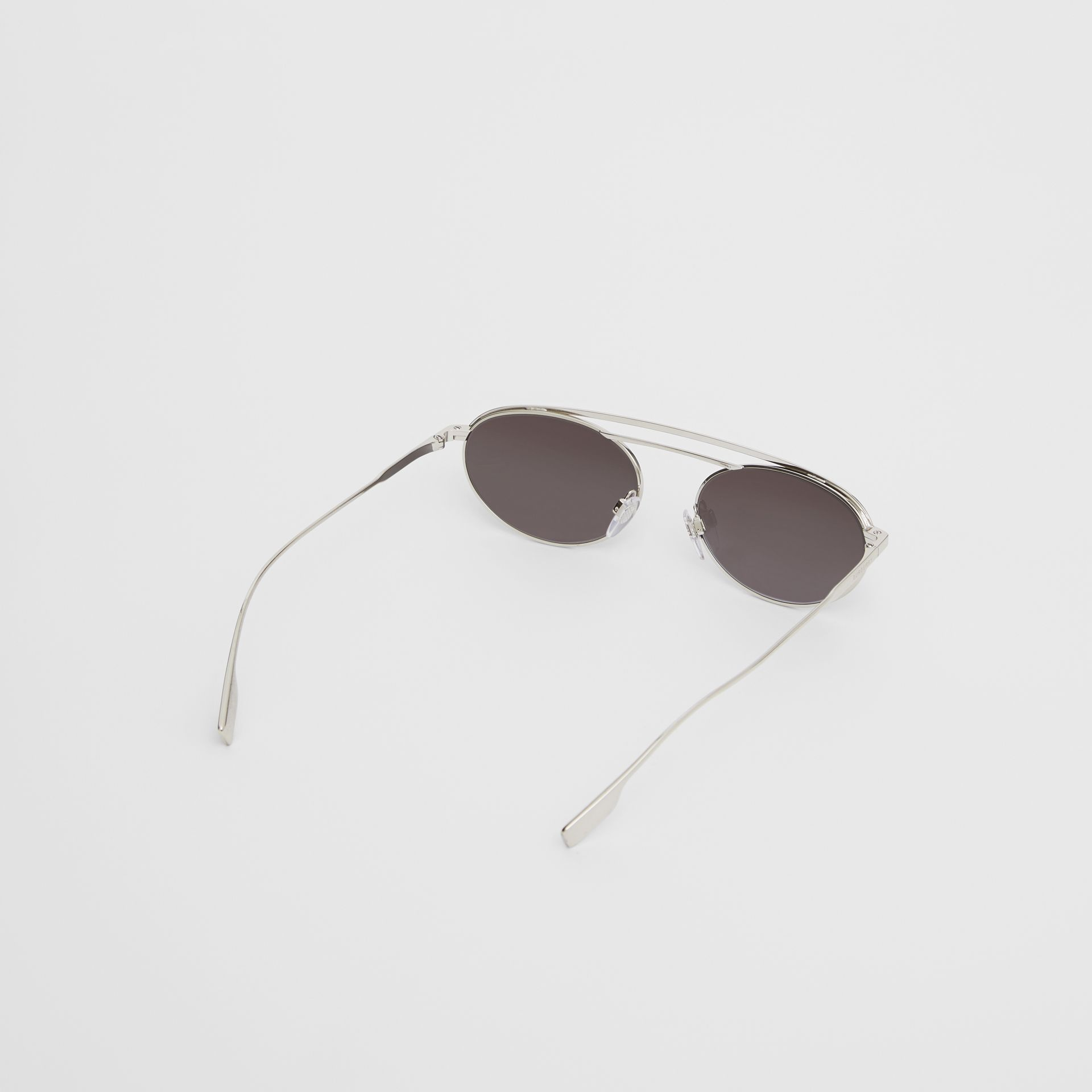 Oval Frame Sunglasses in Grey - Women   Burberry - gallery image 4