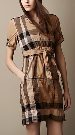 Zip Front Check Tunic Dress