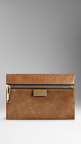 Small Suede and Leather Clutch Bag