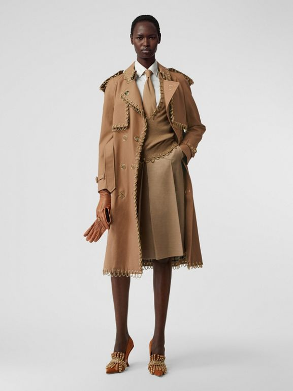 Chain Detail Cotton Gabardine Trench Coat in Warm Walnut - Women | Burberry - cell image 1