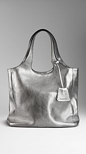 Medium Metallic Leather Shopper