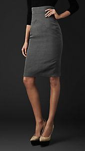 Cotton Silk Pencil Skirt