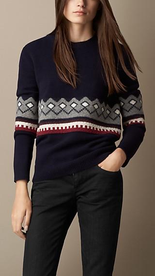 Wool Cashmere Fair Isle Sweater