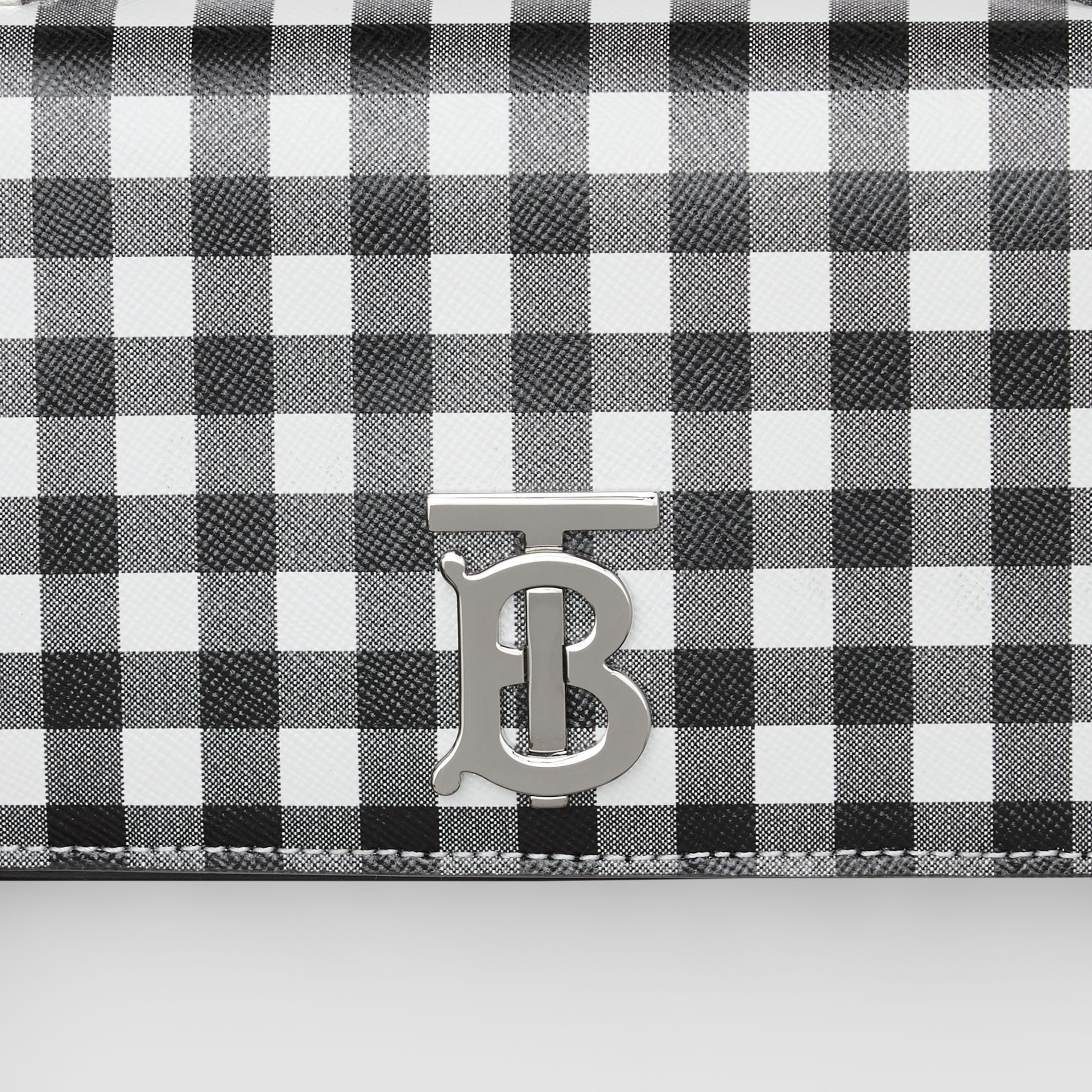 Mini Gingham Leather Lola Bag in Black/white - Women | Burberry - gallery image 1