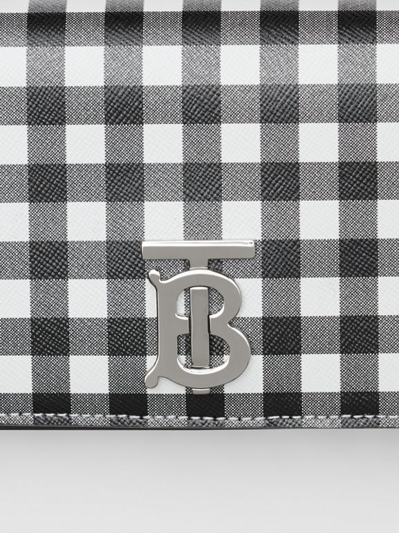 Mini Gingham Leather Lola Bag in Black/white - Women | Burberry - cell image 1