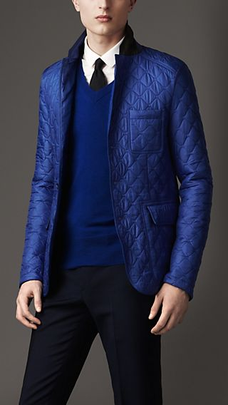 Leather Detail Quilted Blazer