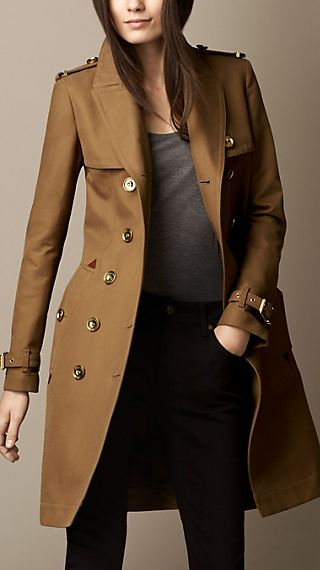 Long Bonded Cotton Trench Coat with Studded Undercollar