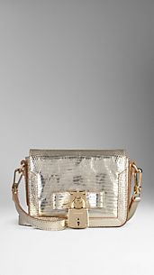 Metallic Lizard Lock Detail Crossbody Bag