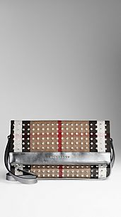 Studded Check Canvas Foldover Crossbody Bag