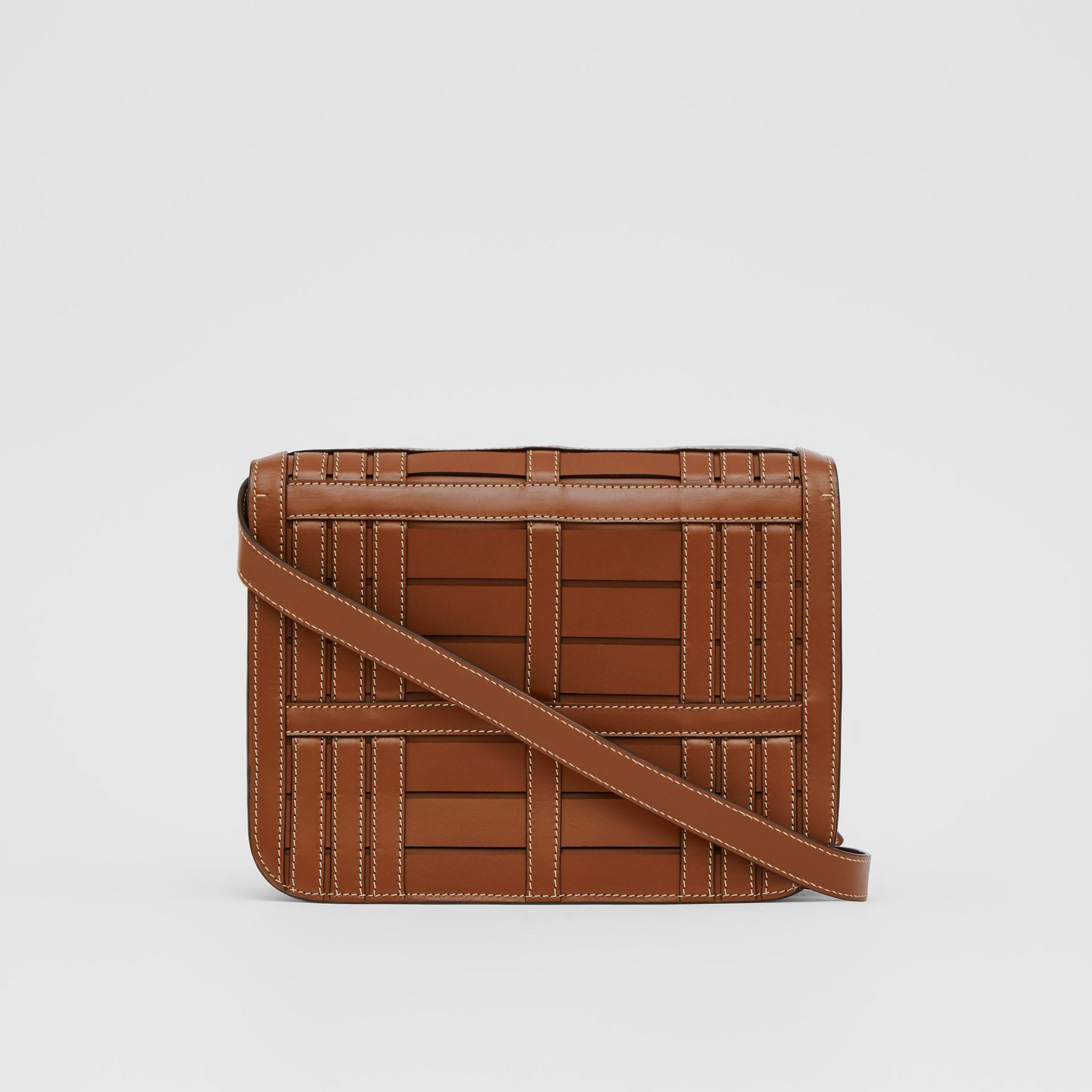 Medium Woven Leather TB Bag in Tan - Women | Burberry - gallery image 7