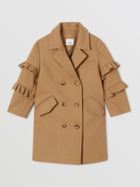 Пальто из шерсти с рукавами с оборками (Песок)