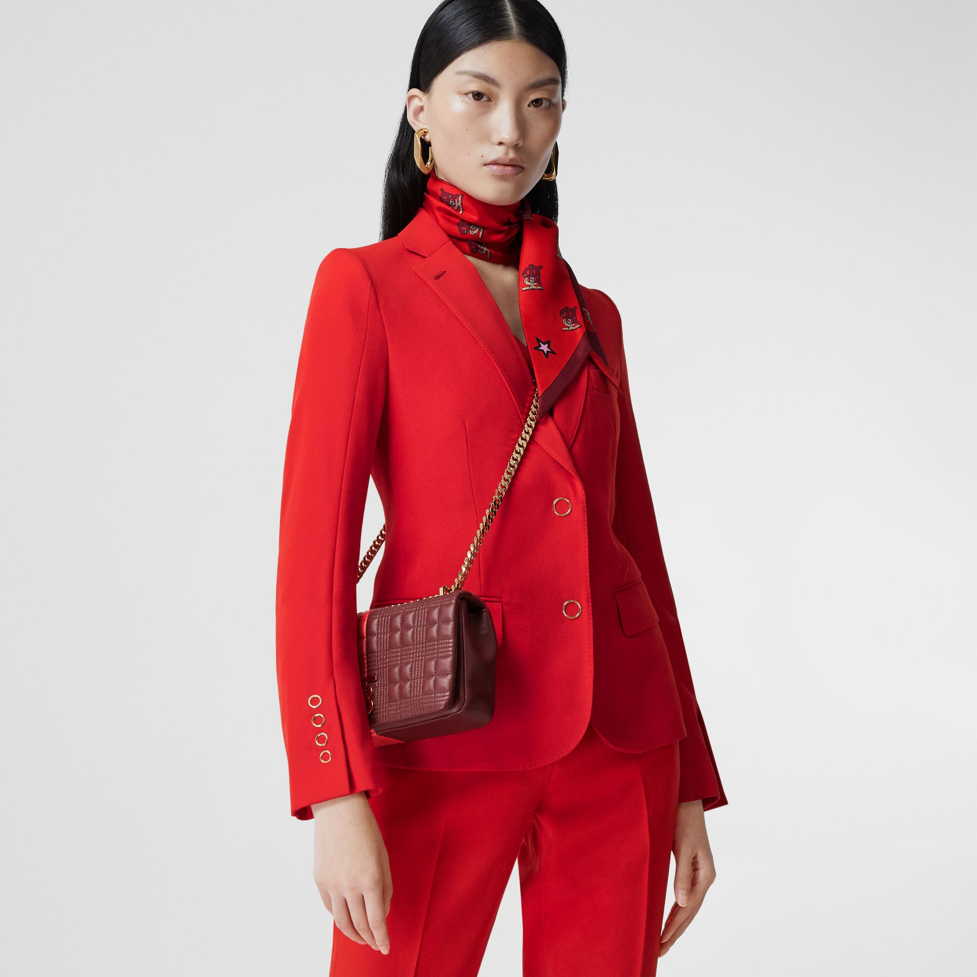 Small Quilted Colour Block Lambskin Lola Bag in Bright Red/burgundy - Women | Burberry United Kingdom - gallery image 8