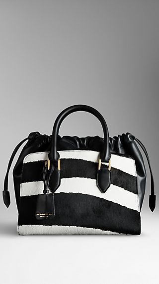 Striped Animal Print Calfskin Bag