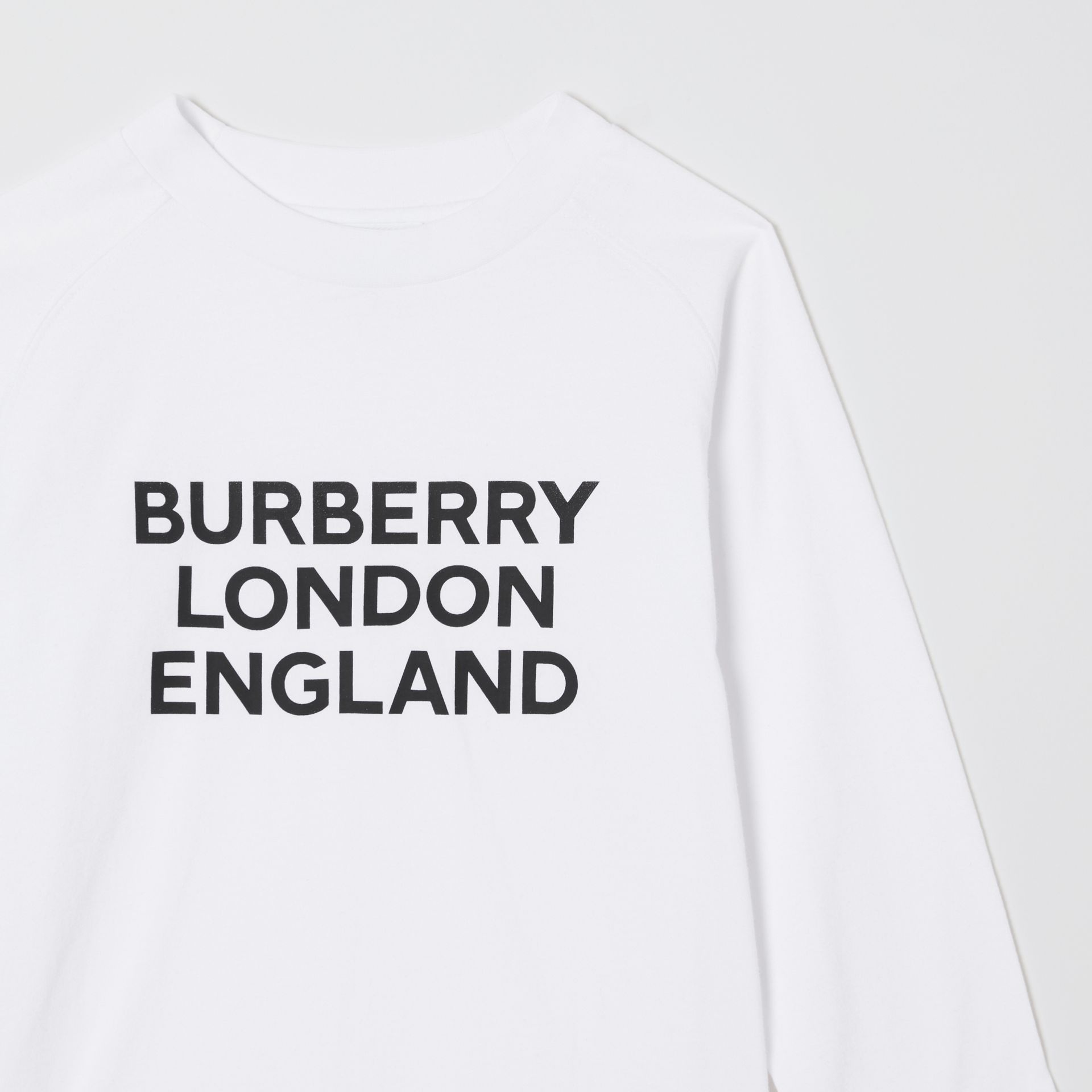 Long-sleeve Logo Print Cotton Top in White | Burberry United Kingdom - gallery image 5