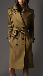 Long Cotton Twill Nubuck Leather Detail Oversize Trench Coat