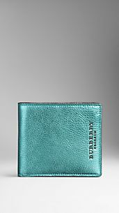 Metallic Leather Folding Wallet