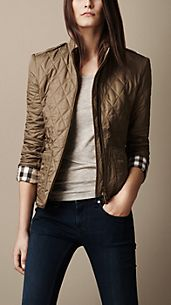 Check Cuff Quilted Jacket