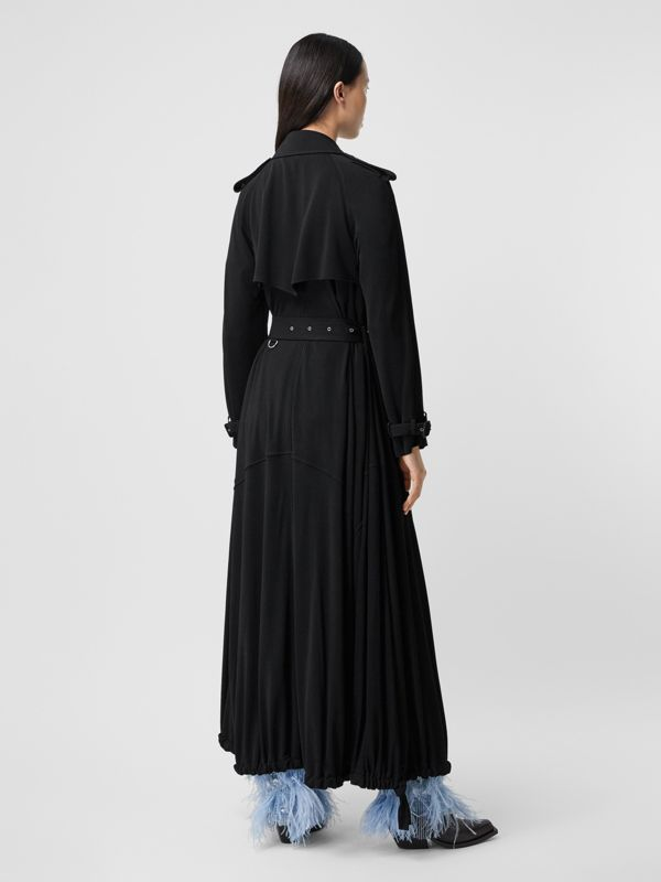 Press-stud Detail Jersey Trench Coat in Black - Women | Burberry - cell image 2
