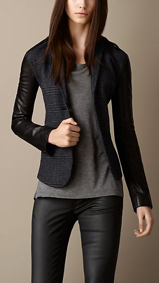 Leather Detail Tailored Jacket