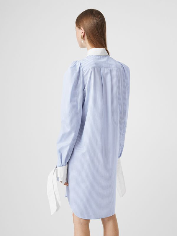 Striped Cotton Poplin Shirt Dress in Pale Blue - Women | Burberry - cell image 2