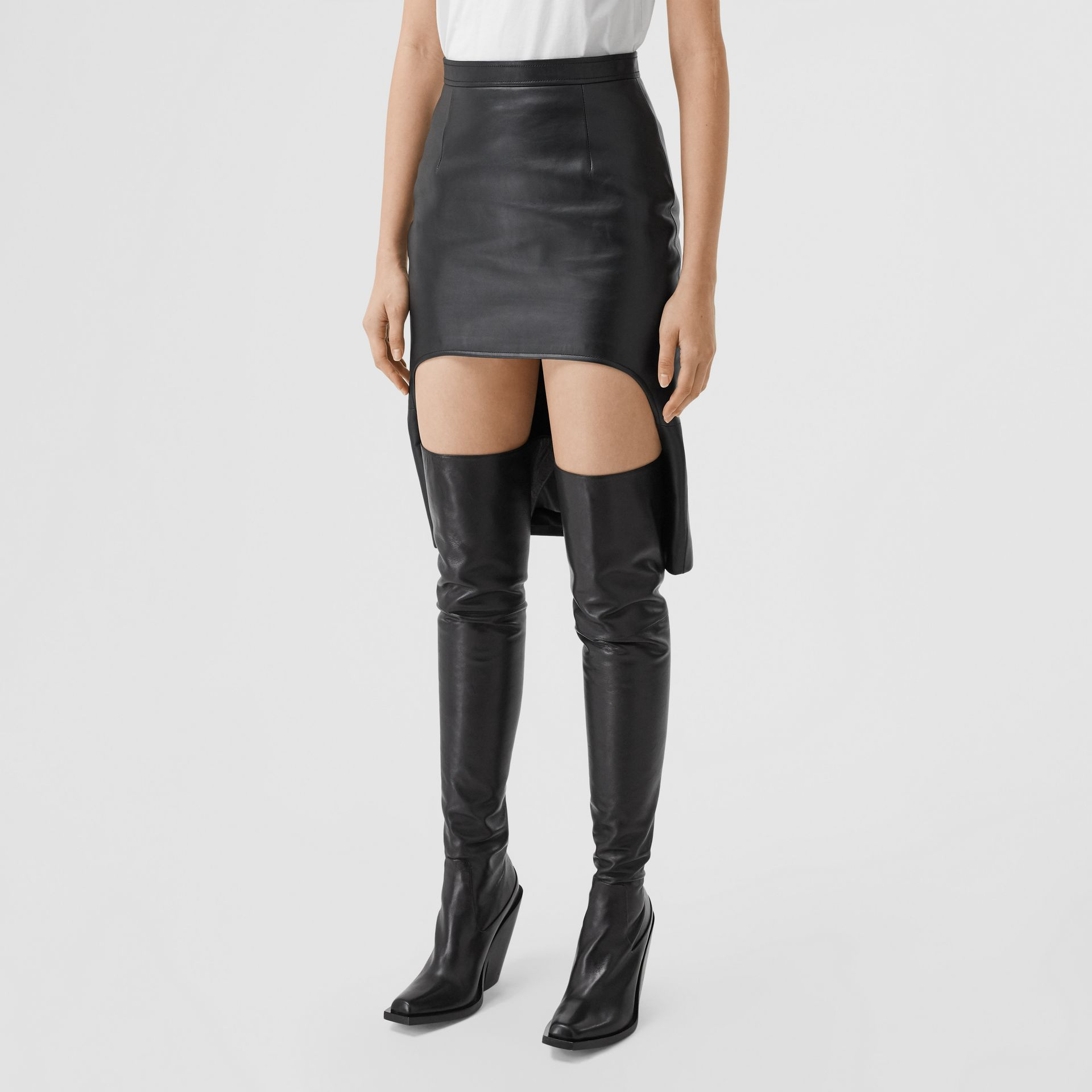 Leather Step-through Pencil Skirt in Black | Burberry United Kingdom - gallery image 4