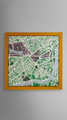 亮雪松绿印花 伦敦手绘地图丝质中方巾 - 图 1