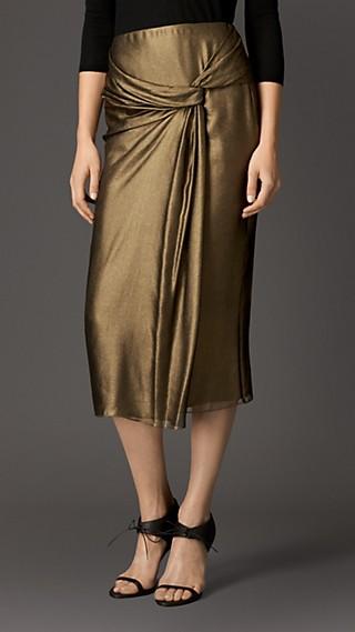 Lamé Silk Drape Detail Skirt