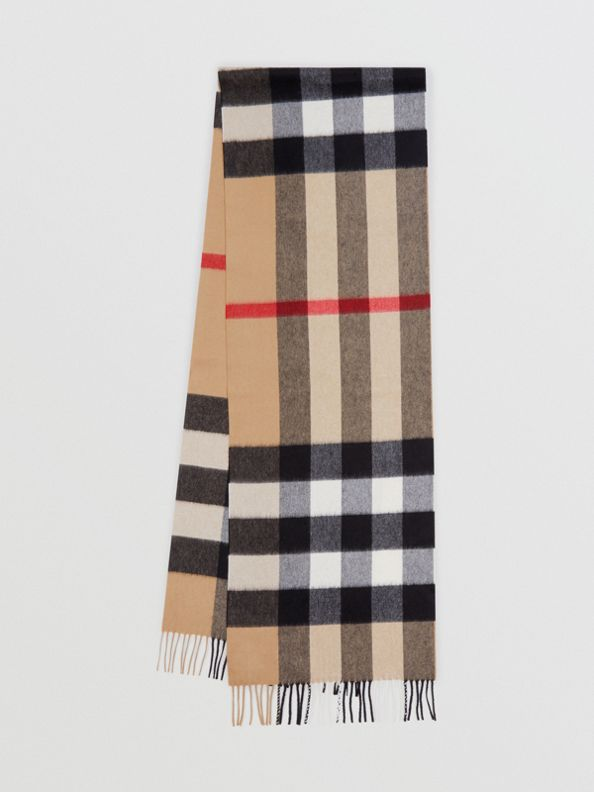 Check Cashmere Scarf in Archive Beige