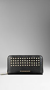 Studded London Leather Ziparound Wallet