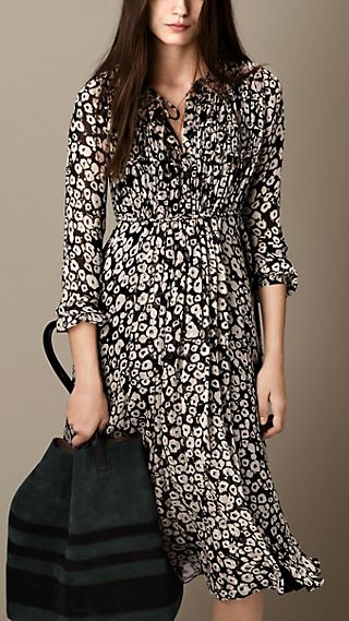 Layered Silk Floral Print Dress