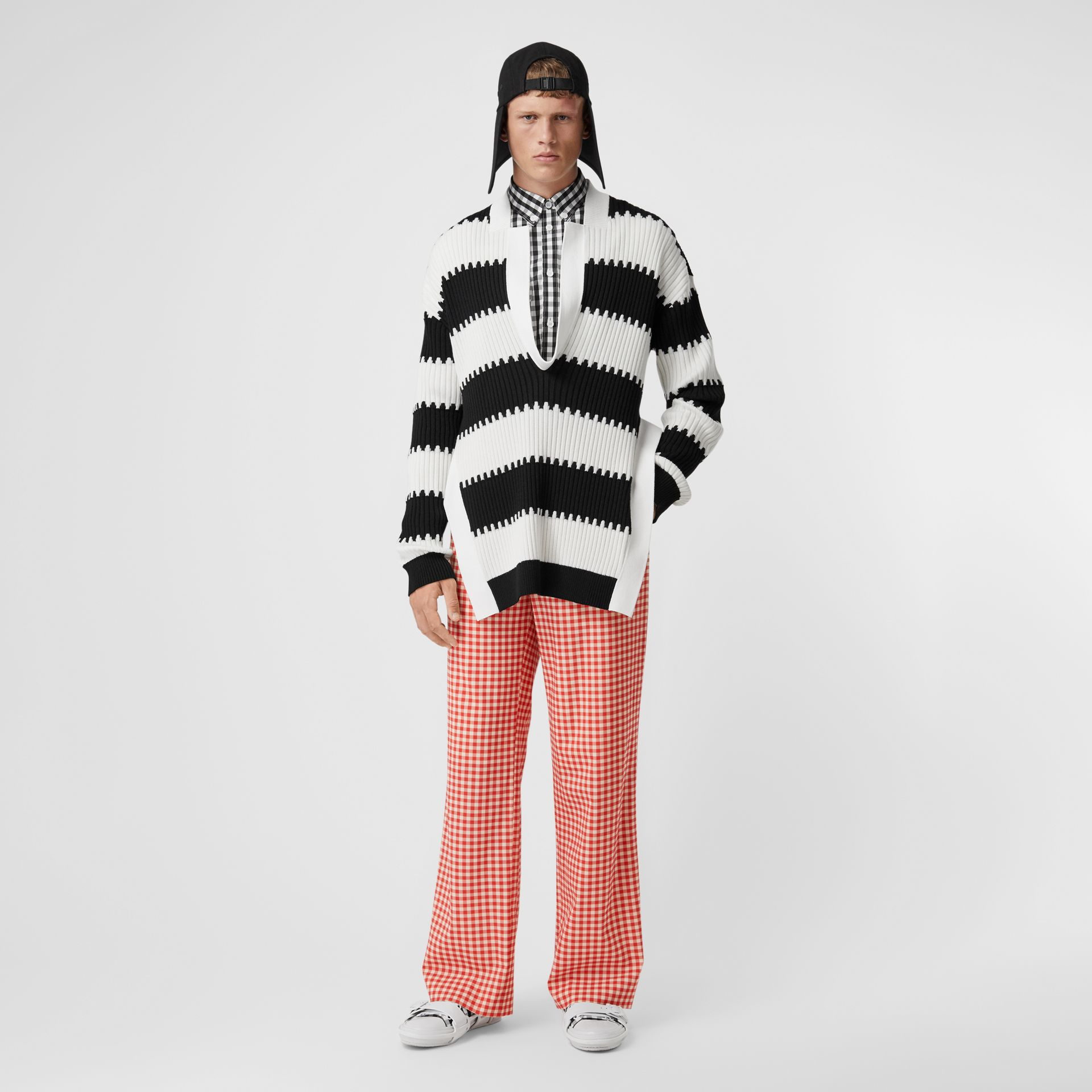 Cut-out Back Gingham Stretch Cotton Trousers in Red | Burberry - gallery image 0
