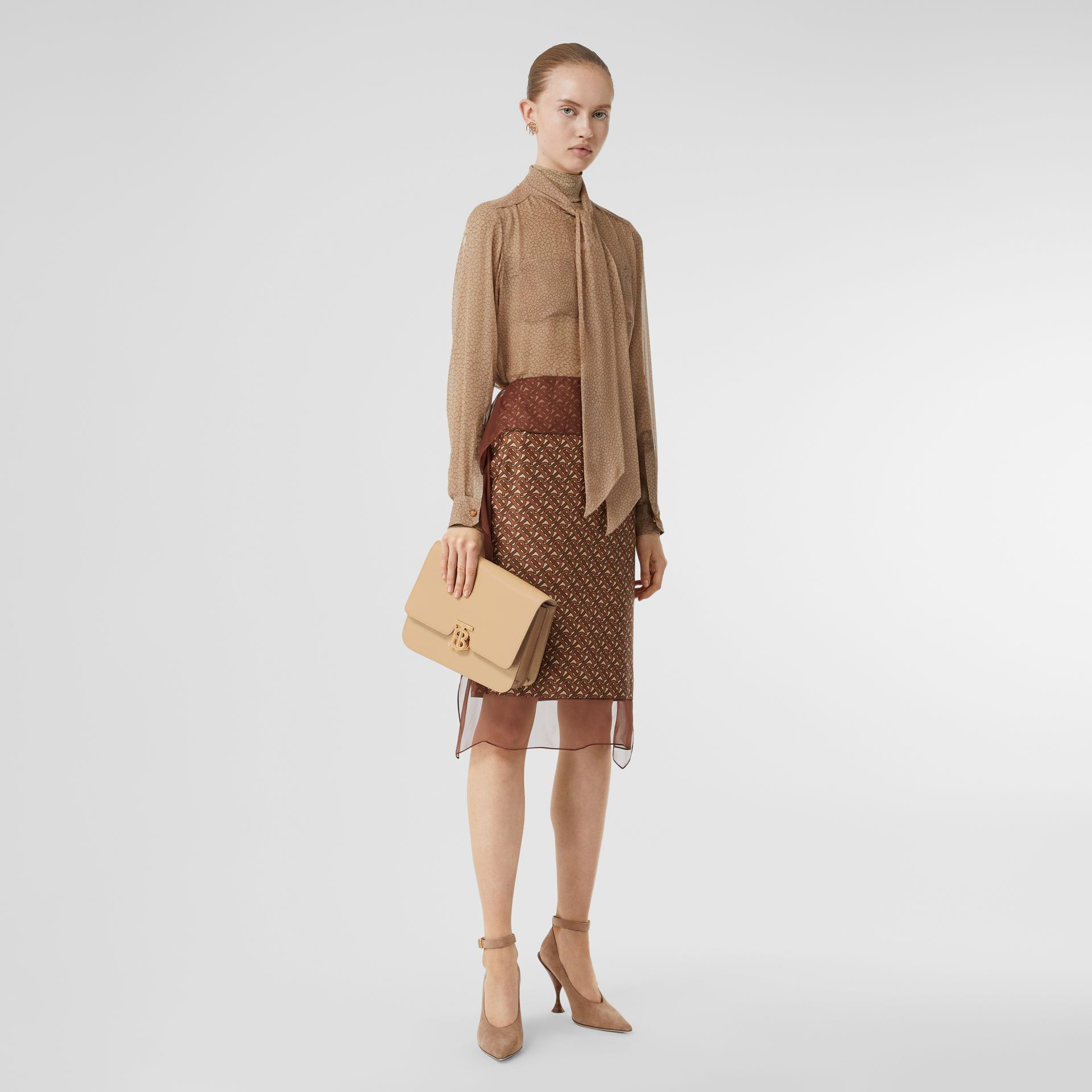 Medium Grainy Leather TB Bag in Archive Beige - Women | Burberry - gallery image 5