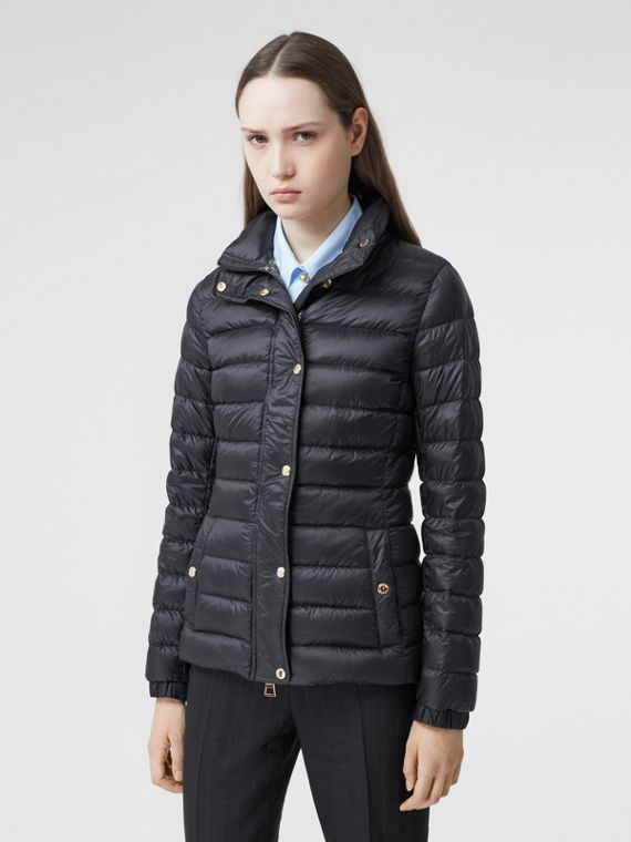 Monogram Print-lined Lightweight Puffer Jacket in Black