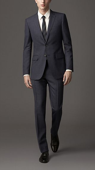 Modern Fit Virgin Wool Microcheck Suit