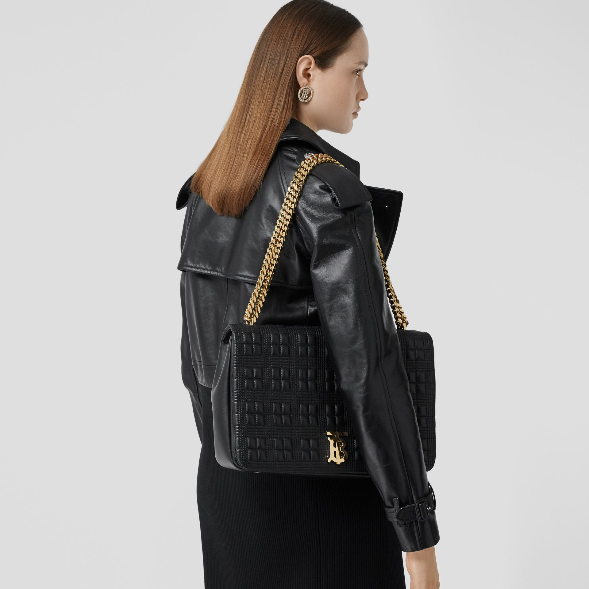 Extra Large Quilted Lambskin Lola Bag in Black - Women | Burberry - gallery image 2