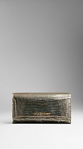 Metallic Lizard Skin Continental Wallet