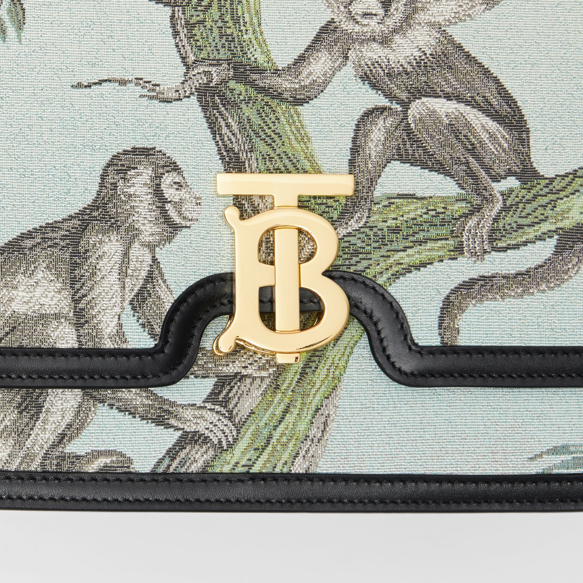 Medium Monkey Jacquard and Leather TB Bag in Black/opal Green - Women | Burberry - gallery image 1