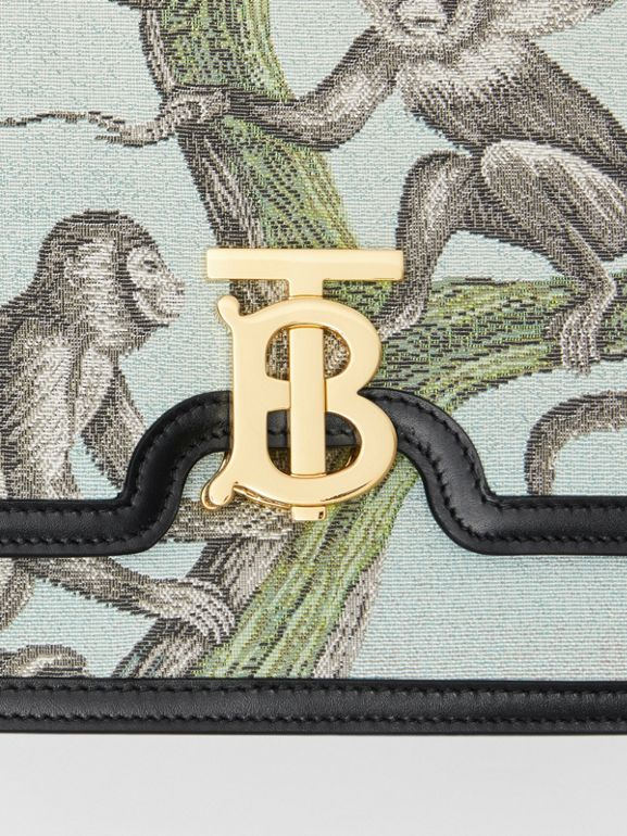 Medium Monkey Jacquard and Leather TB Bag in Black/opal Green - Women | Burberry - cell image 1