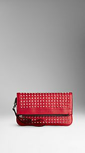 Studded Leather Folding Wristlet