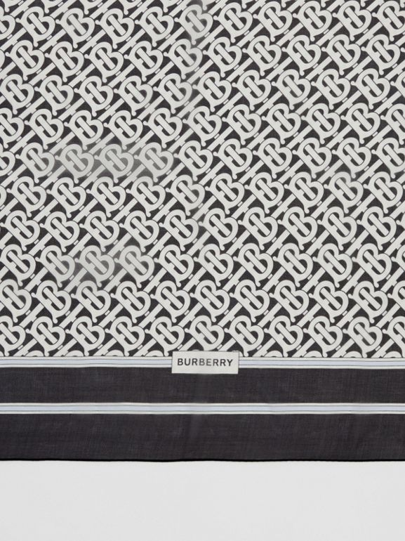Monogram Print Silk Chiffon Scarf in Monochrome | Burberry - cell image 1