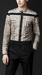 Cotton Woodcut Print Shirt