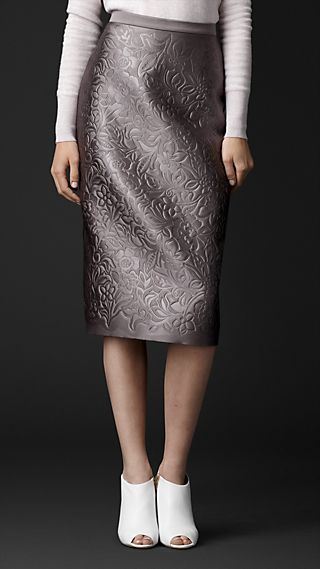 Embossed Duchess Satin Pencil Skirt