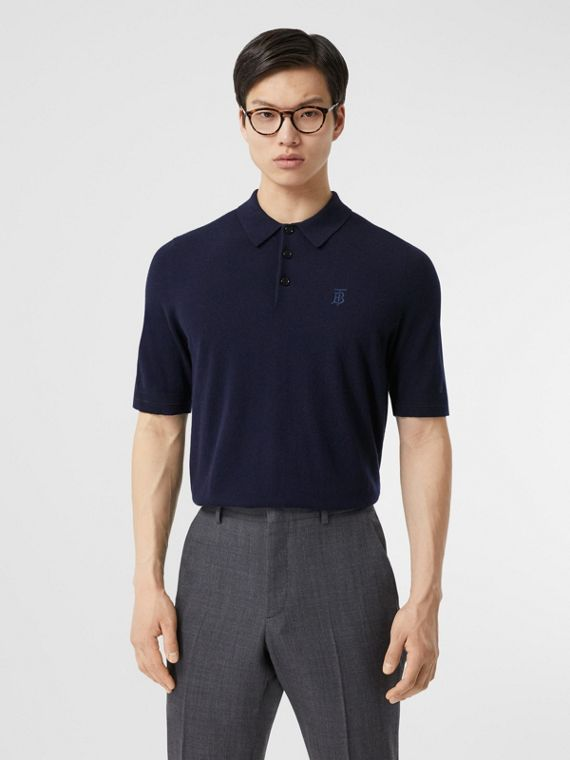 Monogram Motif Cashmere Polo Shirt in Navy