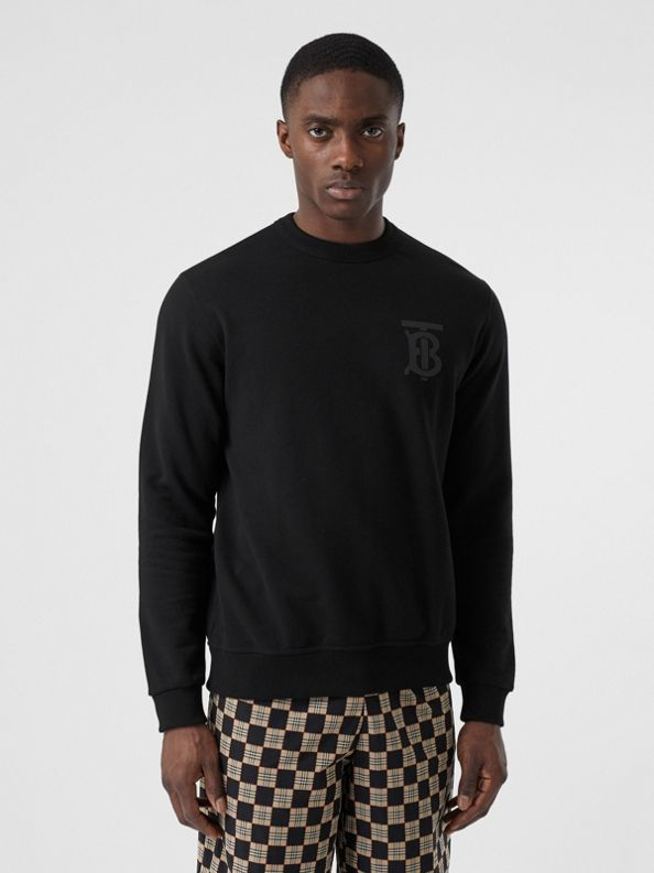 Monogram Motif Cotton Sweatshirt in Black