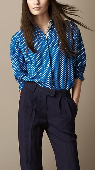 Polka Dot Cotton Linen Shirt